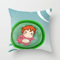 ponyo Throw Pillows featuring Ponyo  by SamIAmTheSam