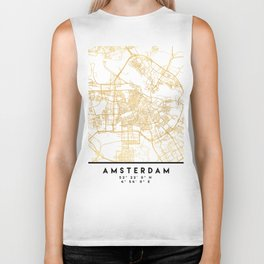 AMSTERDAM NETHERLANDS CITY STREET MAP ART Biker Tank