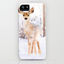 Little Deer in the Snow iPhone Case