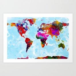 World Map - 3 Art Print