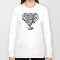 dumbo Long Sleeve T-shirts featuring Ornate Elephant Head by BIOWORKZ