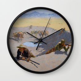 """Frederic Remington Western Art """"Fighting for the Waterhole"""" Wall Clock"""