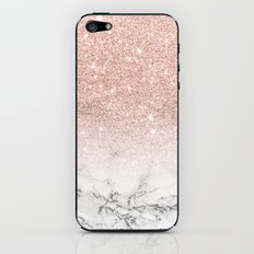 Modern faux rose pink glitter ombre white marble iPhone & iPod Skin