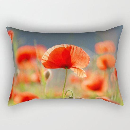 Red Poppies Flowers Rectangular Pillow