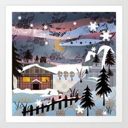 Digital illustration of Winter evening . Quilting. Patchwork . Art Print