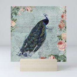 Vintage Victorian Peacock Bird and Roses Illustration Mini Art Print