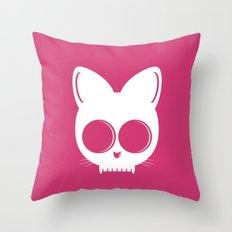 Skull Cat Pink Throw Pillow