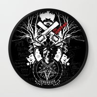 horror Wall Clocks featuring Horror by Lowercase Industry