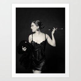 """""""A Noir Night Out"""" - The Playful Pinup - Modern Gothic Twist on Pinup by Maxwell H. Johnson Art Print"""