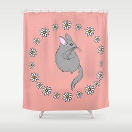 Daisy Chinchilla Flower Crown Border Shower Curtain