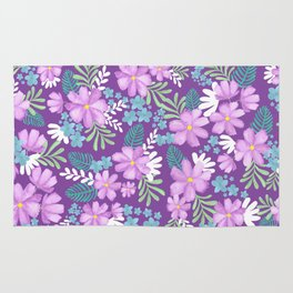 Watercolor flower bouquets- purple Rug