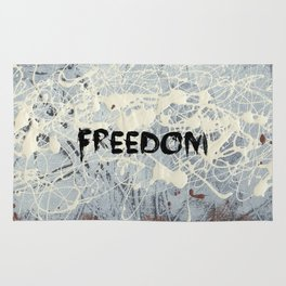 Freedom Pollock Rothko Inspired Black White Red - Modern Rug