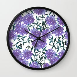 Botanical lavender purple forest green watercolor hortensia leaves Wall Clock