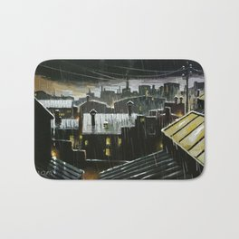 Rainy night in the factories Bath Mat