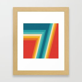 Colorful Retro Stripes  - 70s, 80s Abstract Design Framed Art Print