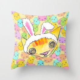 """Oro?"" Easter Bunny Throw Pillow"