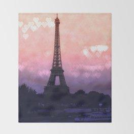 Paris Pastel Heart Bokeh Throw Blanket