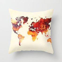 world map 89 art red Throw Pillow