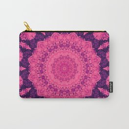 Vibrant sacred kaleidoscope mandala in pink and purple Carry-All Pouch