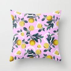 Geometric and Lemon pattern Throw Pillow