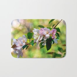 Cluster of pink crabapple flowers. Blooming beauty Bath Mat