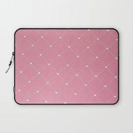 Modern coral pink white geometric pattern Laptop Sleeve
