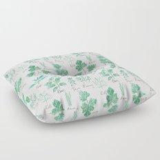 green herbs family watercolor Floor Pillow