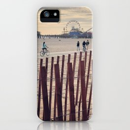 People cycling on Santa Monica beach, California, USA iPhone Case