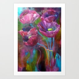 'Abstract Poppies' Art Print