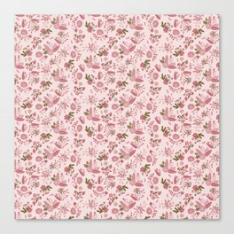 Pink values Floral Surface Pattern  Canvas Print