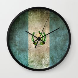 Old and Worn Distressed Vintage Flag of Guatemala Wall Clock
