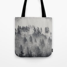 Fog Forest - Black and White Charcoal Forest Tote Bag