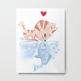 Cat & Fish Metal Print