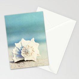 Seashell on Beach Photography, Aqua Blue Shell Coastal Photo, Teal Turquoise Ocean Seashore Stationery Cards