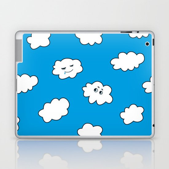 Blue Sky Happy Funny Clouds Laptop & iPad Skin