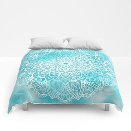 Blue Sky Mandala in Turquoise Blue and White Comforters