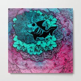 Unicorn Shark Blue Metal Print