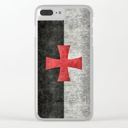 Knights Templar Symbol with super grungy textures Clear iPhone Case