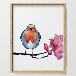 Blue and Orange Bird on Flowery Branch Serving Tray