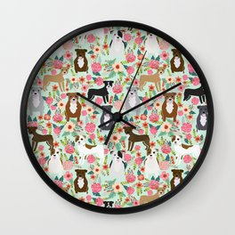 Pitbull florals mixed coats pibble gifts dog breed must have pitbulls florals Wall Clock