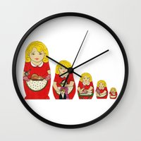50s Wall Clocks featuring 50s Housewife Russian Doll by Yana Elkassova