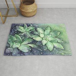 Crystal Succulents in Watercolor Rug