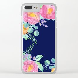 pink peonies with navy background Clear iPhone Case
