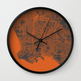 Los Angeles Map orange Wall Clock