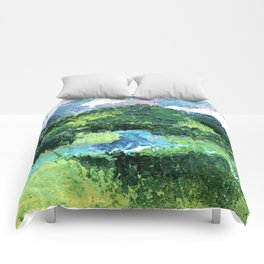 Gunnison: a vibrant acrylic mountain landscape in greens, blues, and a splash of pink Comforters