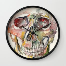 Human Skull Painting Wall Clock