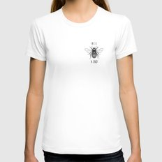 Bee Kind White LARGE Womens Fitted Tee