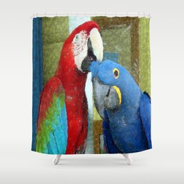 Red and Blue Macaws Crackle Print Shower Curtain