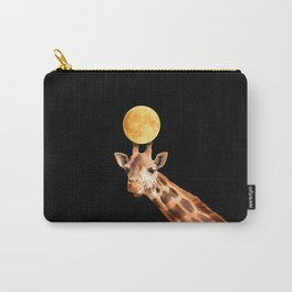 Giraffe And The Moon On A Black Background #decor #buyart #society6 Carry-All Pouch