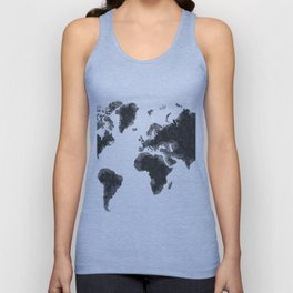 World Map Black Sketch, Map Of The World, Wall Art Poster, Wall Decal, Earth Atlas, Geography Map Unisex Tank Top